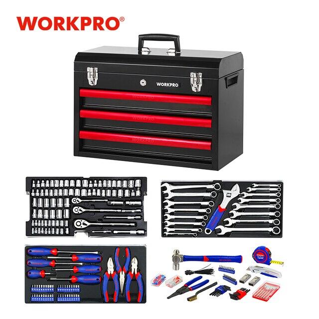 WORKPRO 408PC Home Tool Set Mechanics Tool Set with 3 Drawer Heavy Duty Metal Box 1