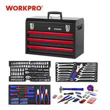 WORKPRO 408PC Home Tool Set Mechanics Tool Set with 3 Drawer Heavy Duty Metal Box(China)