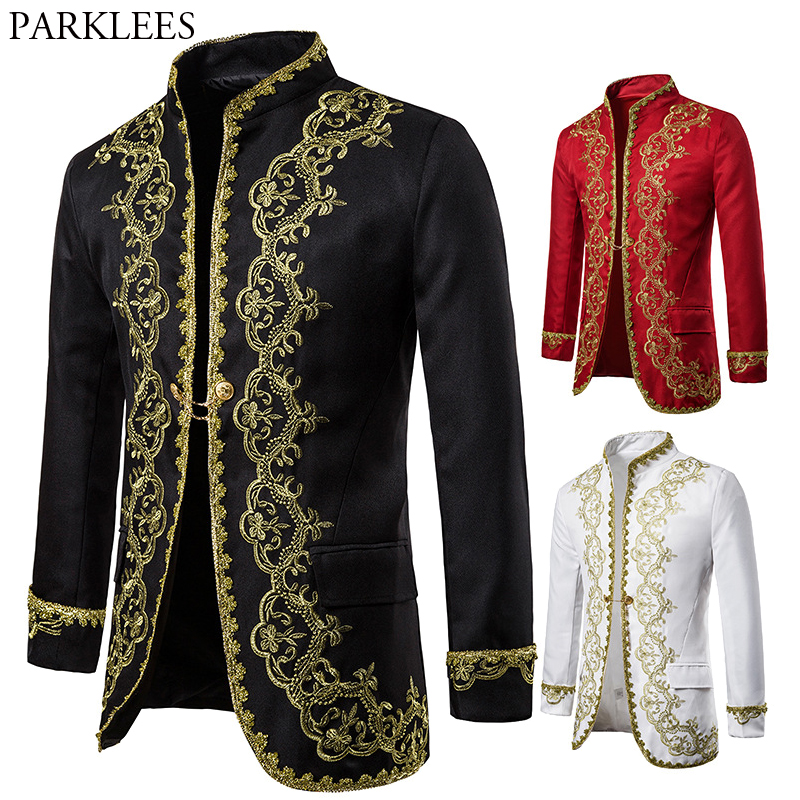 Gold Embroidery Palace Mens Blazers British Baroque Party Wedding Festival Costume Mens Dress Suit Jacket Blazer Masculino XXL