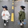 Herbst koreanischen stil baby mädchen mode langarm graben mäntel 2-6 jahre einfarbig lose beiläufige Lasch mantel kinder jacken