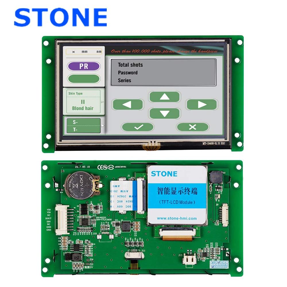 5 polegada hmi inteligente tft lcd módulo de exibição com controlador + programa toque uart interface serial STVC050WT-01
