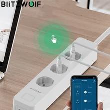 Blitzwolf BW SHP9 Eu Plug 3300W 15A 3 Socket Dual Usb Slot 2.4Ghz Wifi Smart Controller Power Strip Timer app Afstandsbediening