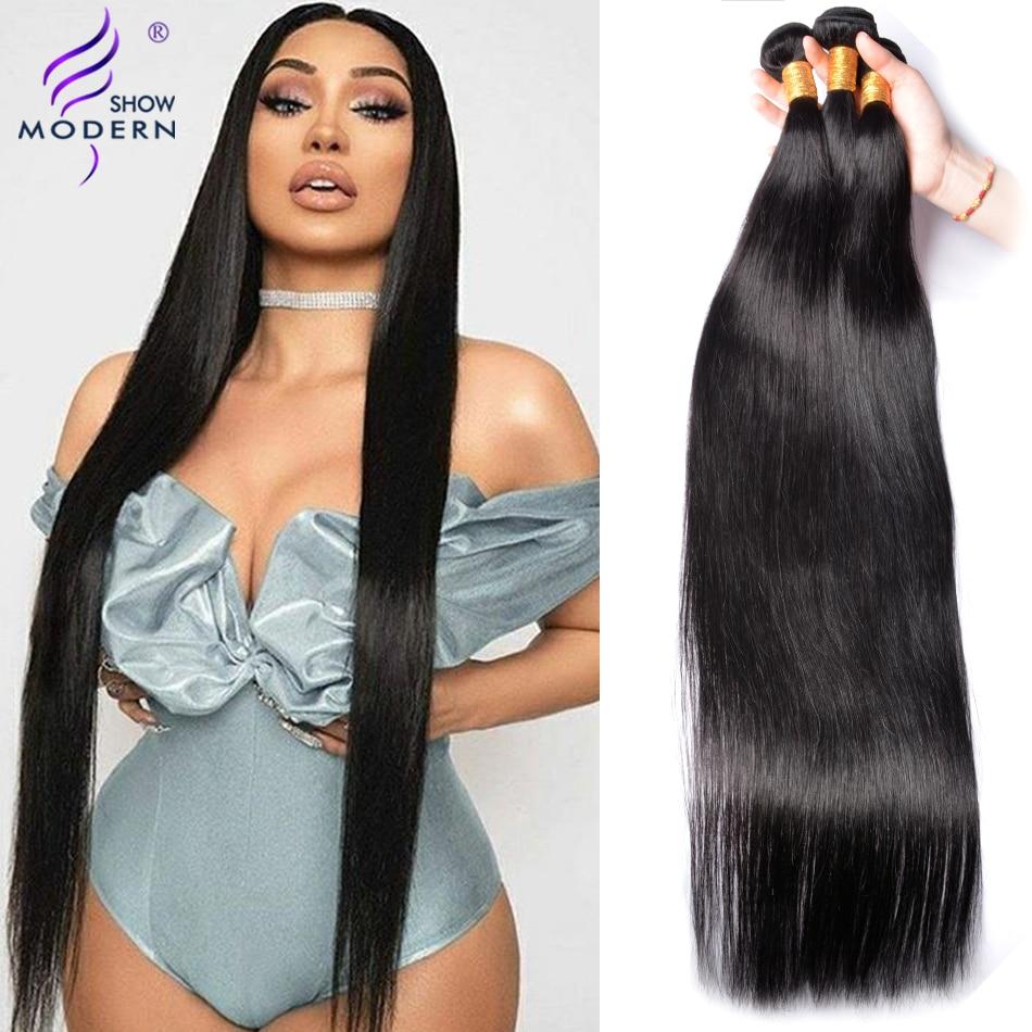 Современное шоу перуанские волосы пряди 3/4 шт прямые волосы пряди 100% натуральные кудрявые пучки волос пряди Бесплатная доставка не Реми 10-28 ...
