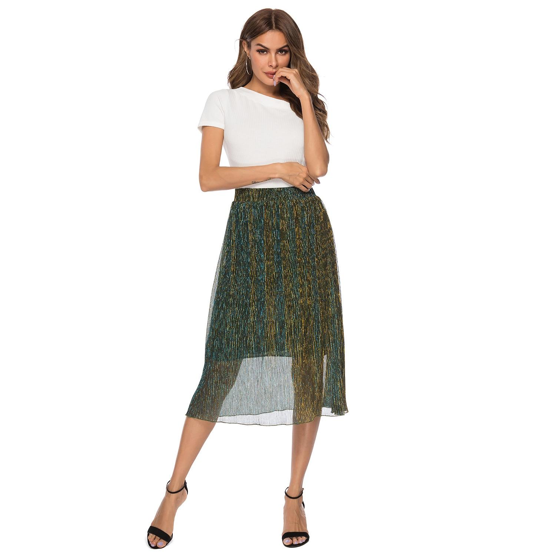 2019 Summer New Style Europe And America WOMEN'S Dress Filigree High Waist Skirt Pleated Skirt A- Line Skirt Hot Sales