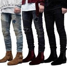 2020 Mens Jeans Moto Biker High Street Designer Denim Pant Ripped Jean Men Straight Fit Jeans Homme High Quality Jeans For Men цена 2017