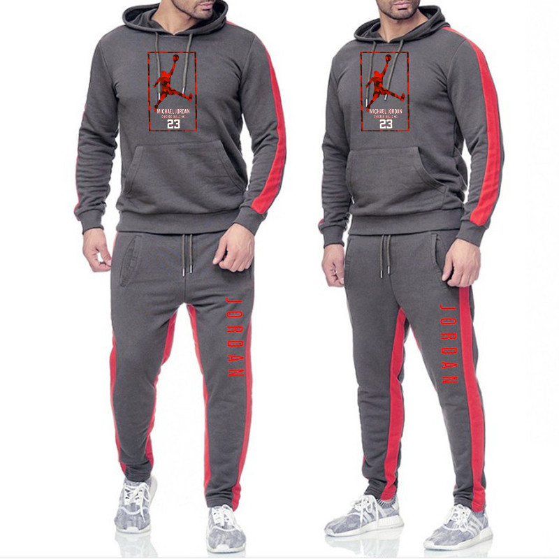New Tracksuit Men Hoodie Set Off White Sportswear Sets Fleece Sweatshirt Suit Jordan 23 Stripes Sweatpants Malechandal Hombre