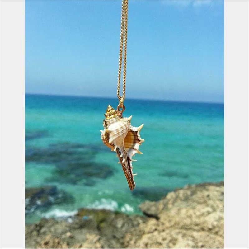 Bohemio Concha largo collar mujer playa viento Concha colgante Boho joyería declaración collar plata cadena dorada sencilla regalo de Gargantilla
