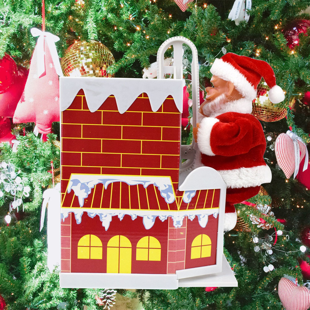 Decorations Lovely Christmas Funny Home Gifts Climbing Chimney Enjoyable Santa Claus Exquisite Music Electronic Toys Durable