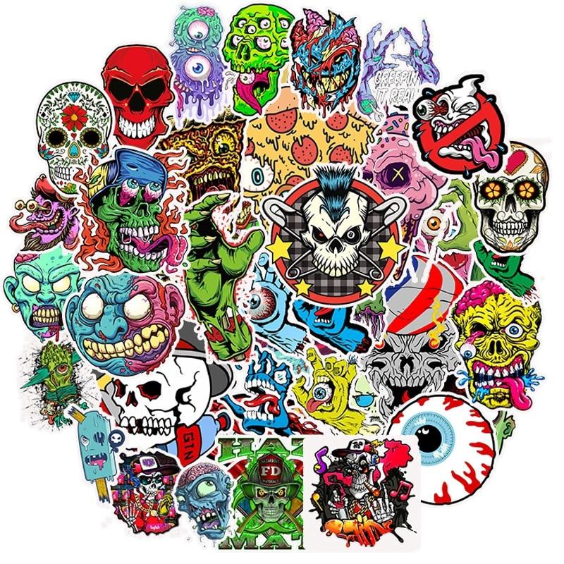 50Pcs Mixed Horror Series Graffiti Punk Stickers For Laptop Skateboard DIY Guitar  Helmet Luggage Waterproof  Decal  Sticker