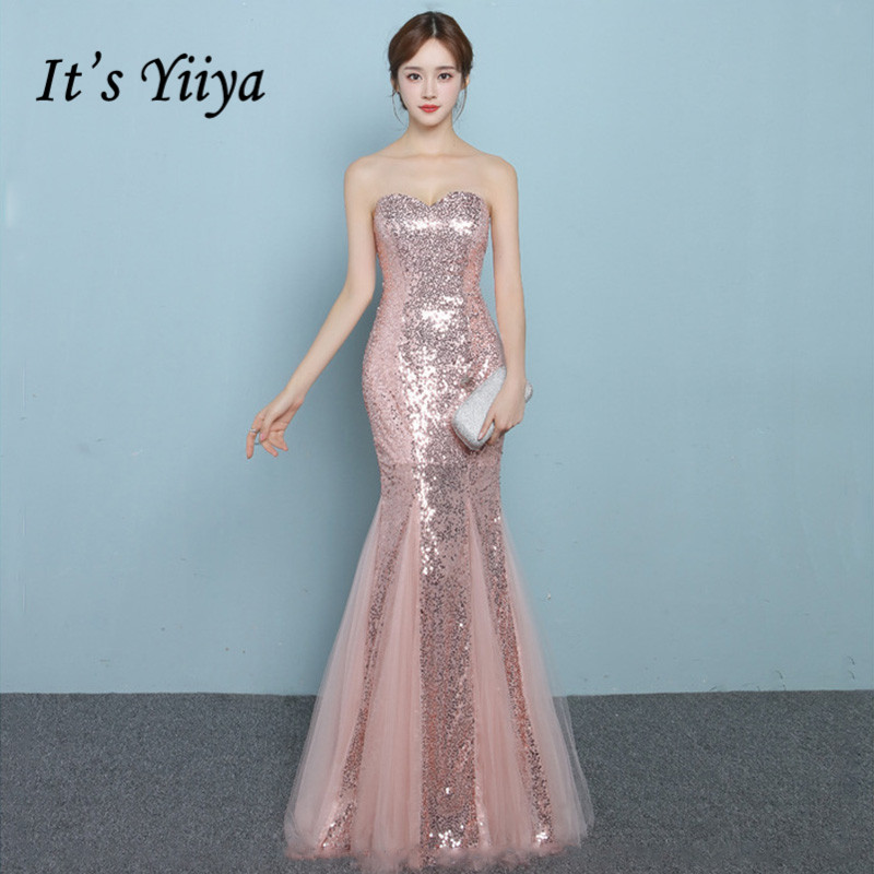 It's Yiiya Sequined Mermaid Evening Dresses Rose Gold Women Sexy Formal Dress Women Elegant Strapless Long Vestidos K240