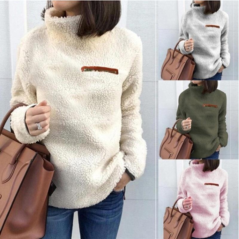 Fuzzy Turtleneck Pullovers Women Solid Casual Long Sleeve Winter Warm Sweatshirt Female Vintage Basic Fluffy Tops