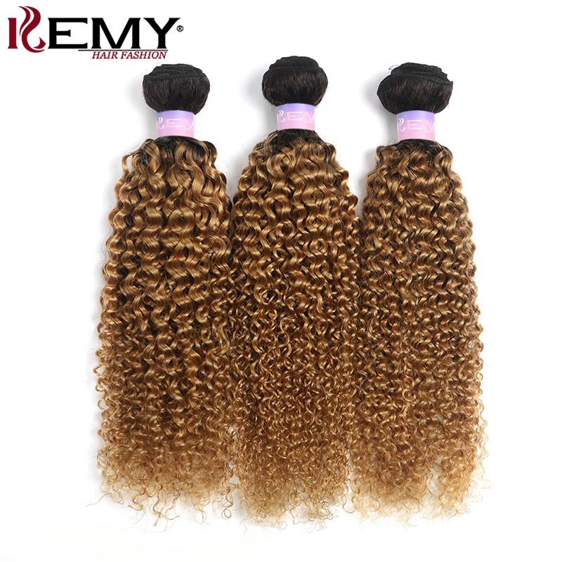 T1B/27 Brazilian Kinky Curly Human Hair Bundles Honey Blonde Two Tone Hair Weave Bundles 3/4 PCS Non-Remy Hair Weaving KEMY HAIR