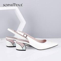 Nuevas bombas SOPHITINA para mujer, zapatos informales con talón cuadrado, hebilla alta, decoración, zapatos de piel de oveja de alta calidad, bombas sólidas SC633