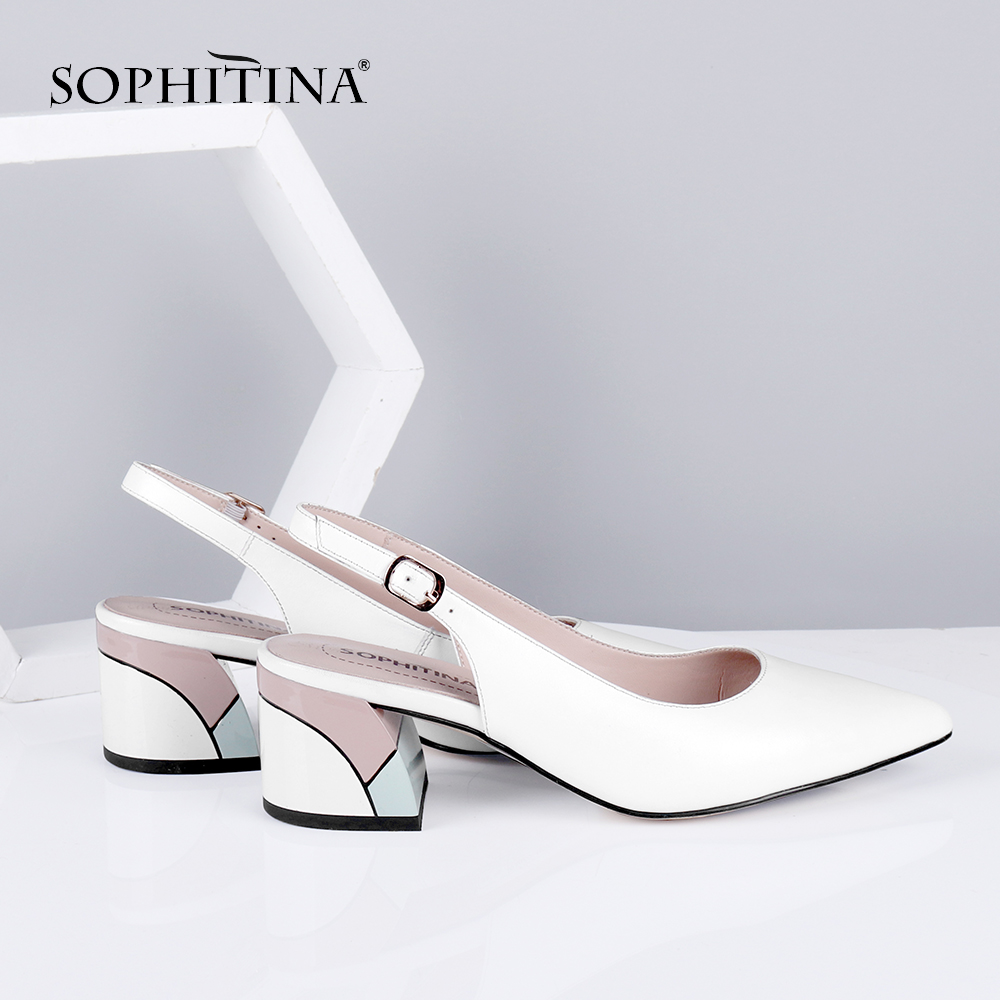 SOPHITINA New Women's Pumps Casual Slingbacks Square Heel High Buckle Decoration High Quality Sheepskin Shoes Solid Pumps SC633