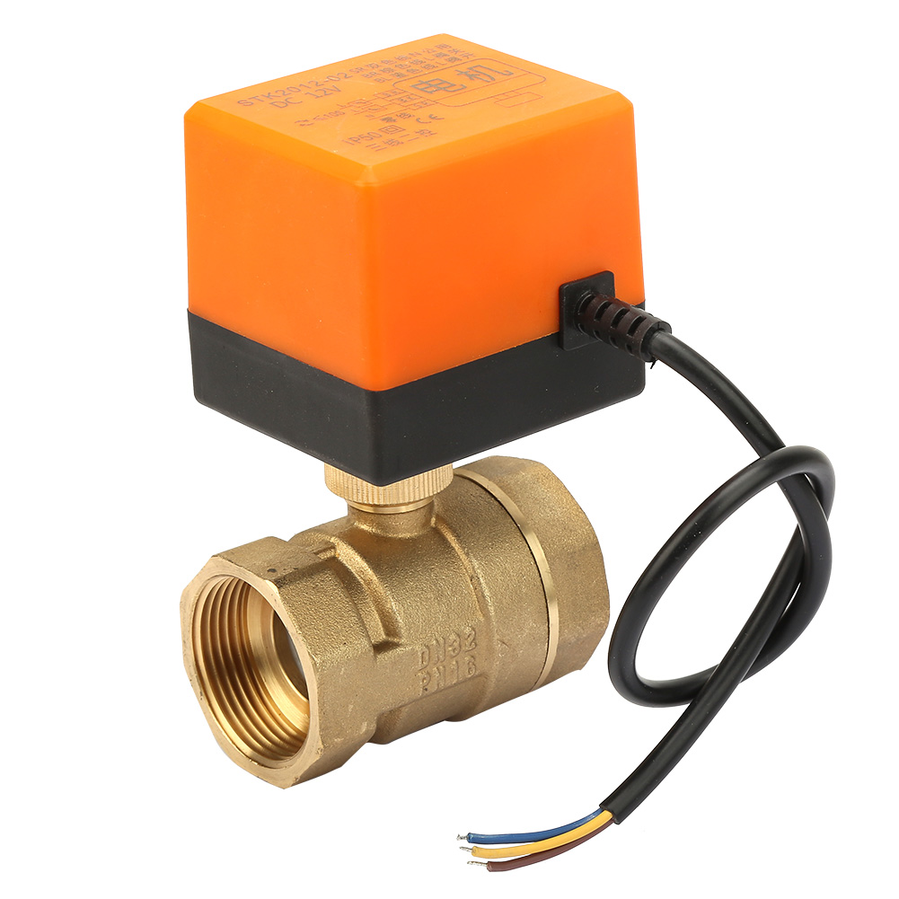 New DC 12V 2 Way 3 Wire Brass Motorized Ball Valve Electrical Valve DN32 G1-1/4 Inch Thread 90 Degree Rotation For Water Gas Oil