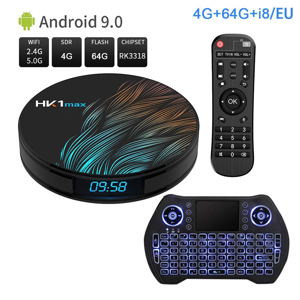 Android 9.0 HK1MAX Mini Smart TV Box 2.4G/5G Wifi Quad Core BT 4.0 Set Top Box Netflix Media Player Voice Control PK X96 HK1 MAX