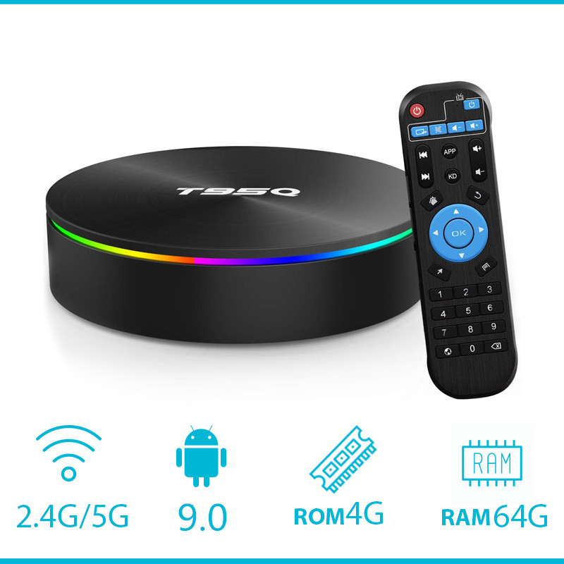 Android 9.0 décodeur T95Q TVBOX 4GB 64GB Android 8.1 Amlogic S905X2 TV Box QuadCore 2.4GHz 5GHz double wifi BT4.1100M 1000M