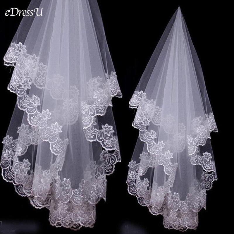 150 см кружевная свадебная вуаль Белый Тюль свадебная вуаль с вышивкой по краям слоновой кости Свадебная вуаль простые женские белые