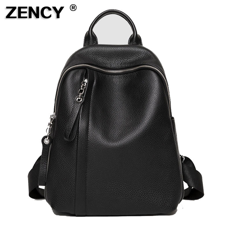 ZENCY 2020 NEW 100% Genuine Cow Leather Silver Hardware Women Everyday Casual Backpacks Girl First Layer Cowhide Female Book Bag