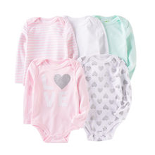 Macacão infantil de manga longa 5 peças, conjunto de roupas de algodão recém-nascido, estampa de flor arco-íris com 5, peças/lote