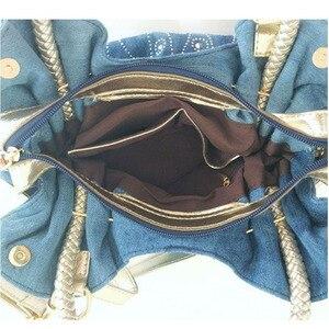 Image 5 - iPinee Luxury Women Demin Handbag Women Messenger Bag Female Jeans Shoulder Bag Womens Rivet Bags sac a main