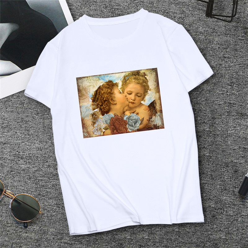 Women T-shirt Michelangelo Art Oil Painting Casual Tops Tees Fashion Lovely Angel Black White Tshirt Women's Clothes