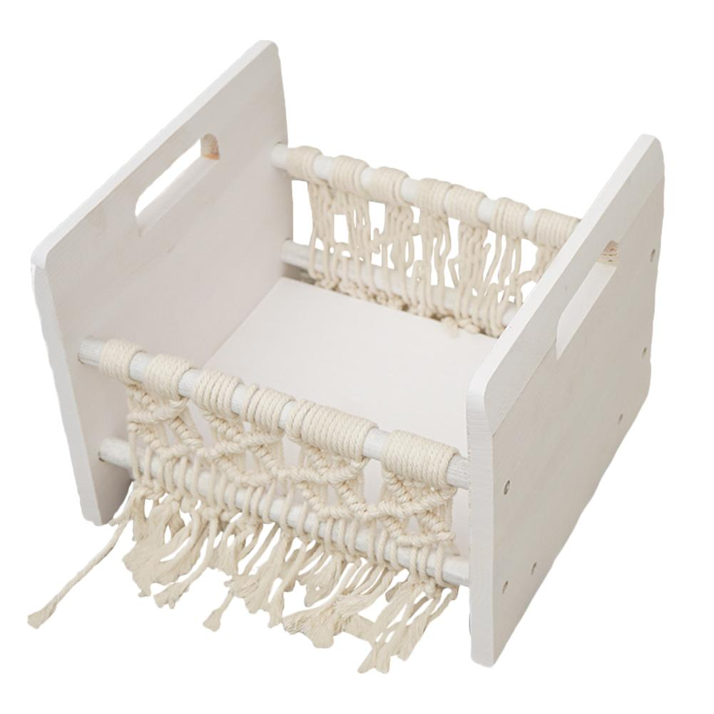 Crib Detachable Basket Wooden Bed Accessories Photo Shooting Baby Photography Props Bed Woven Cotton Rope Newborn Photo Bed