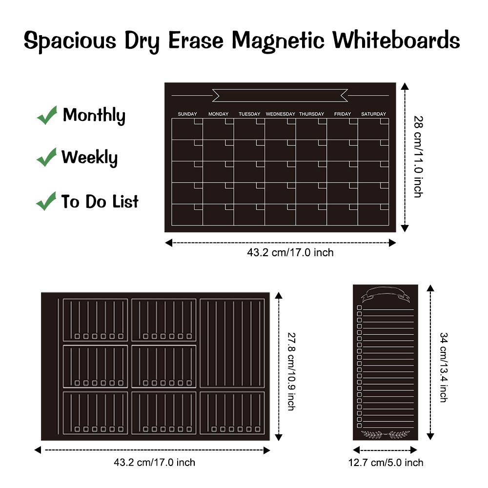 3 Pack Magnetic Calendars Weekly Monthly Daily Planner Whiteboard Black Dry Erase Refrigerator Memo Board Fridge Chalkboard 2