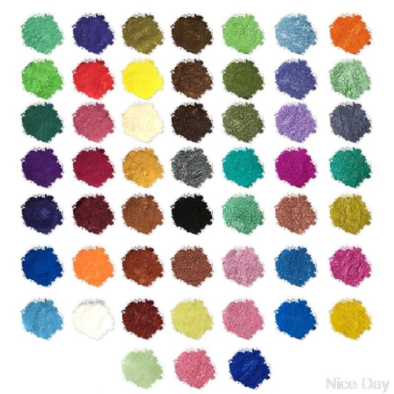 52Color Mica Powder Pearlescent Pigment Resin Colorant Skin Safe DIY Resin Craft M21 20 Dropship