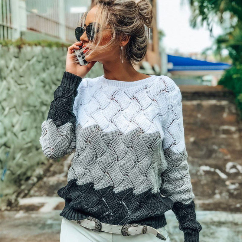 2019 Autumn Hollow Out O Neck Pullovers Women's Sweater Long Sleeve Criss Cross Knitted Sweater Women Rainbow Female Jumper