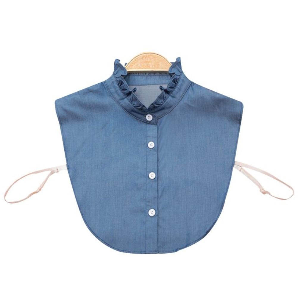 Denim Tie Fashion Dress Accessories Fake Lapel Top Adjustable Clothes Button Blouse Shirt Women Detachable Collar All-Match
