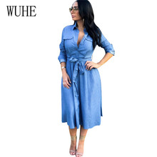 WUHE Fashion Women Lady Casual Loose Denim Dress Elegant Long Sleeve Turn-down Neck Blue with Button Femme Dresses