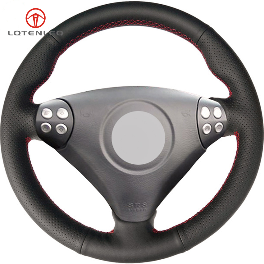 LQTENLEO Black Artificial Leather Car Steering Wheel Cover for <font><b>Mercedes</b></font> <font><b>Benz</b></font> SLK-Class W170 W171 SLK 200 280 350 2004-2008 <font><b>C230</b></font> image