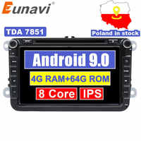 Eunavi 8 ''2 din Android 9 autoradio dvd pour VW Volkswagen Polo Jetta passat b6 b7 cc fabia skoda Touran golf 6 Tiguan GPS Navi
