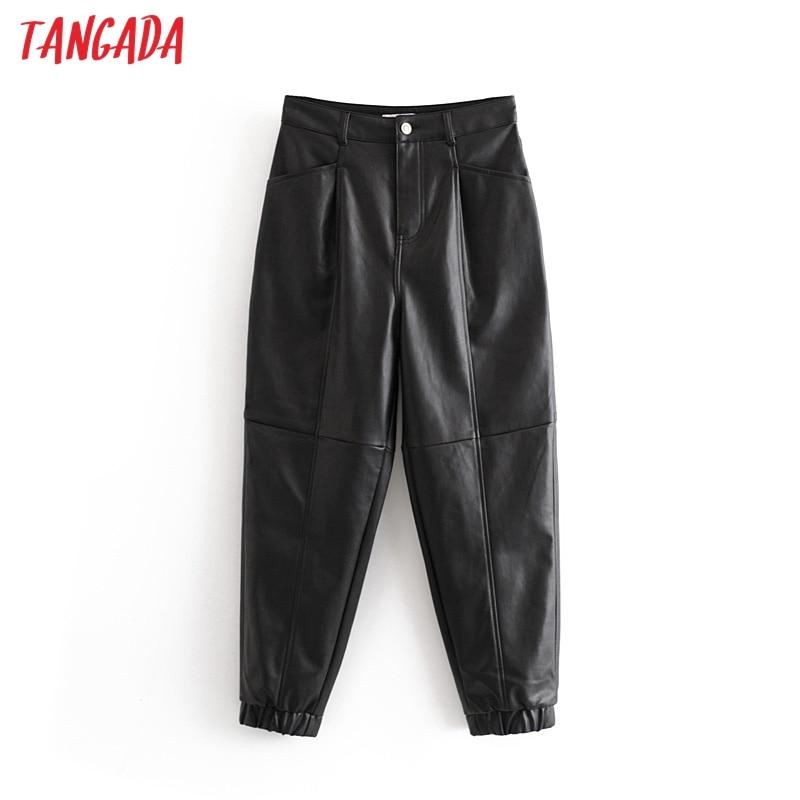 Tangada Women Black PU Leather Harm Pants Female 2019 Autumn Winter Vintage Faux Leather Trousers High Street Style 6A10