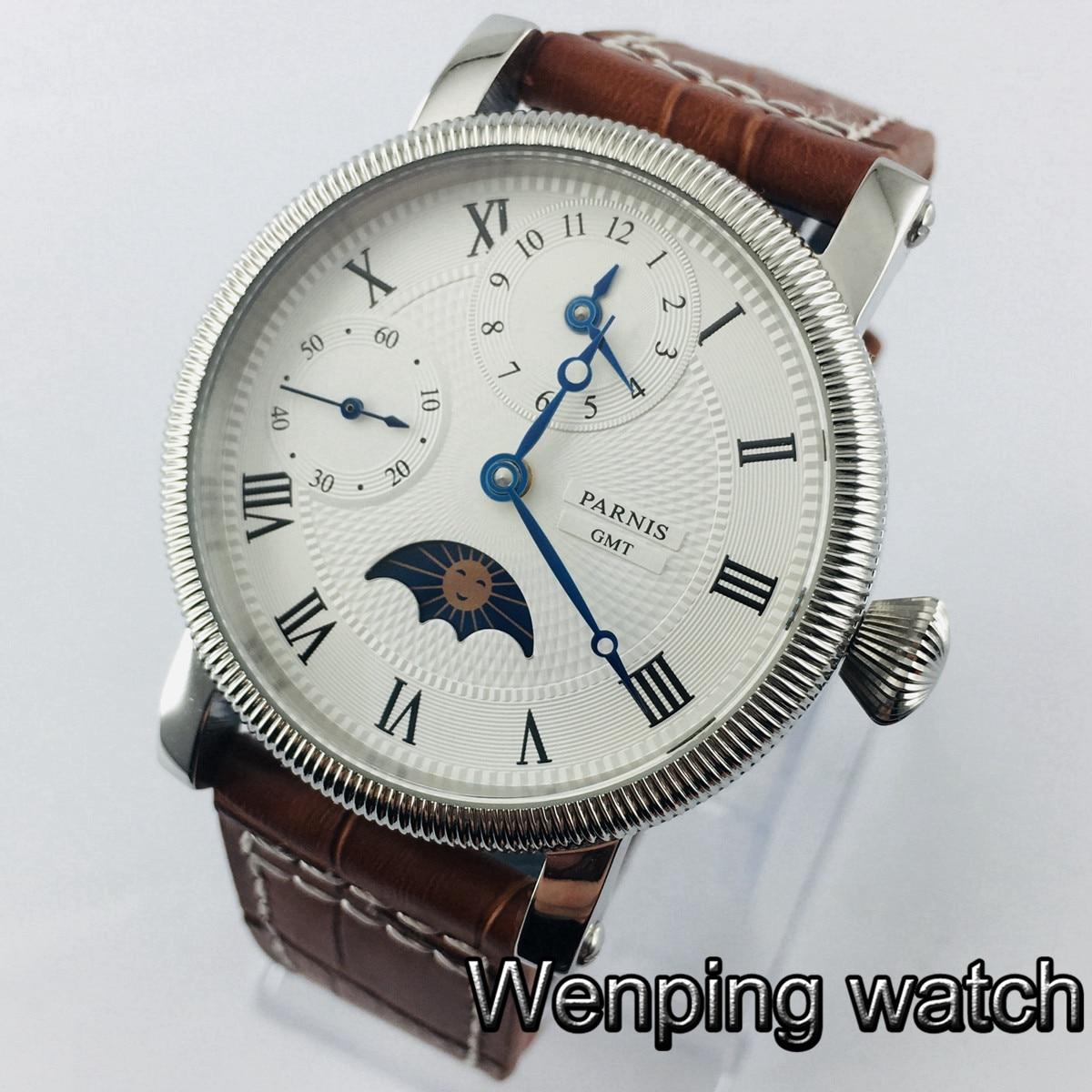 Parnis 43mm hommes haut mécanique montres cadran blanc GMT cuir remontage à la main mouvement hommes montre