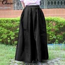 Maxi Skirts Satin Pleated Celmia Loose Sexy Elegant Autumn High-Waist Plus-Size Casual