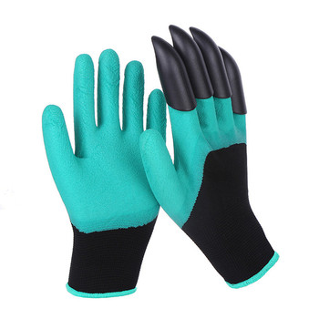 A Pair Work Gloves Adult Garden ABS Latex One-handed 4 Claws Outdoor Digging Planting Safety Wear-resistant Non-slip Protection latex gloves security protective five fingers wear resistant non slip 1 pair red and yellow for casting metallurgical