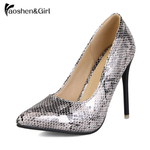 Купить с кэшбэком Haoshen&Girl Snake Pattern Leather Pointed Toe Pumps Women Sexy Thin High Heels Shoes Stiletto Heel Luxury Pumps Size11.5 33-45