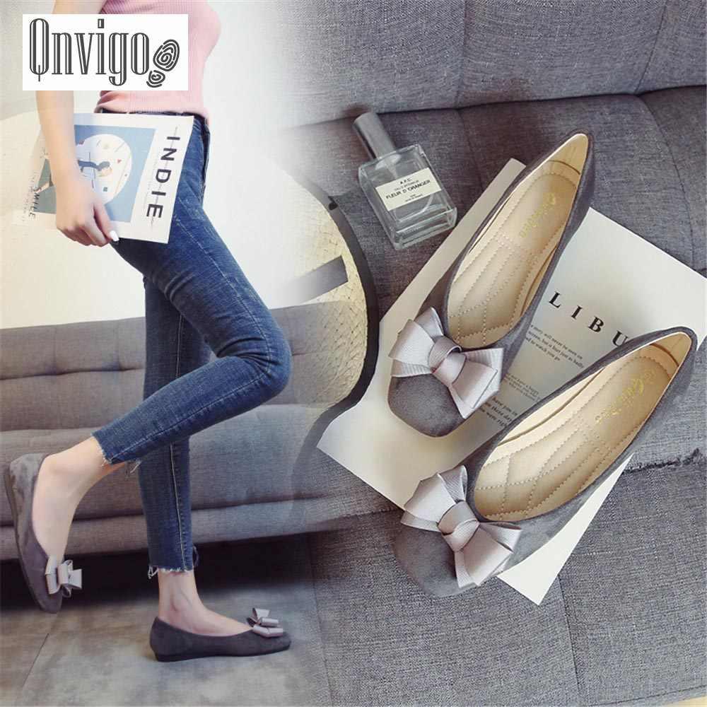 Qnvigo kadınlar Flats tembel deri sonbahar büyük boyutları 31-43 hamile peri yay bayanlar ayakkabı düğün üzerinde rahat kayma kadın ayakkabısı yeni