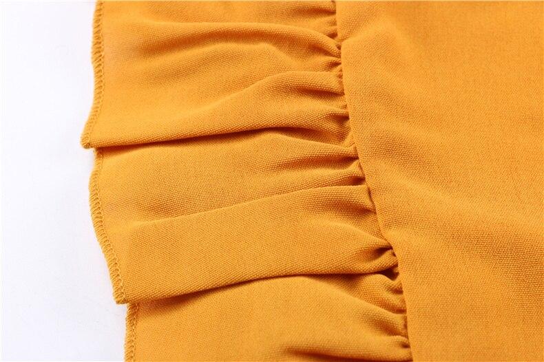 Ruffle Off Shoulder High Waist V Neck Casual Boho Beach Yellow Dress 6