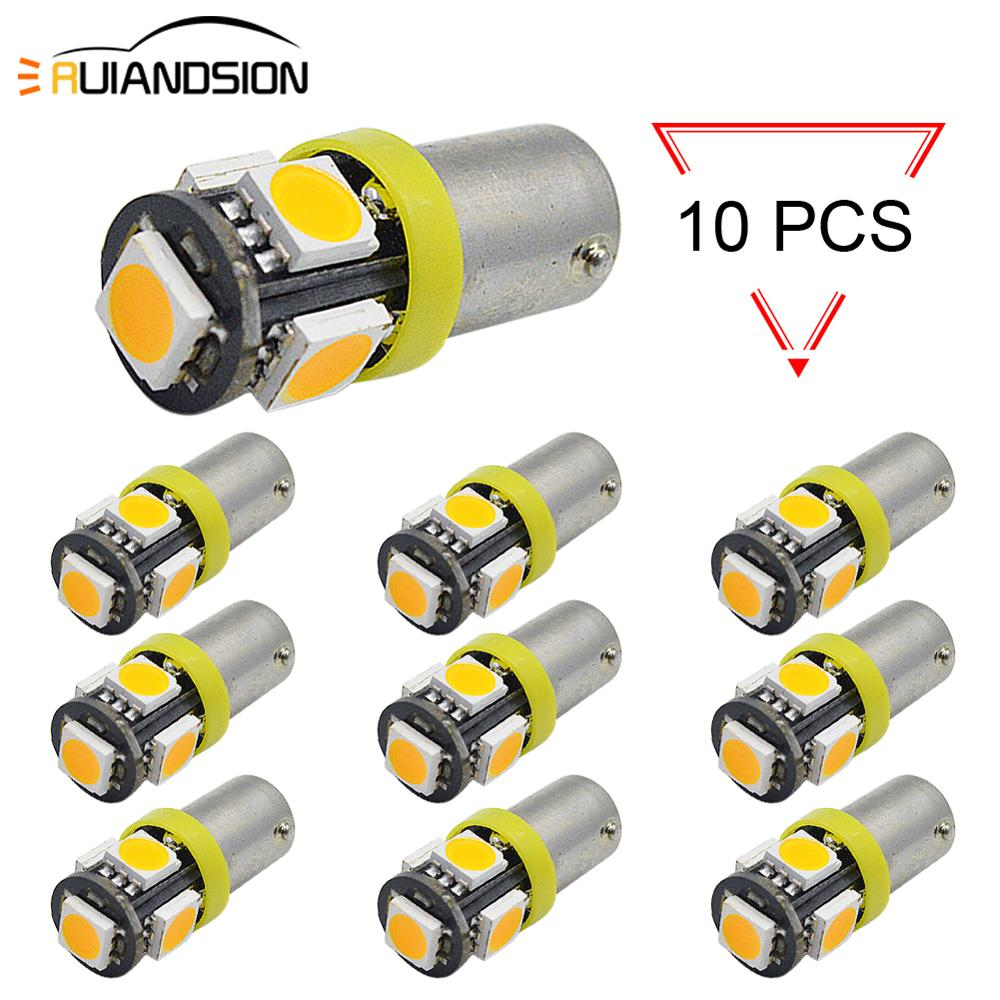 10PCS 6V 12V T4W T11 H6W BA9S BAX9S BAY9S 5 SMD 5050 LED Car Reading Dome Lamp Auto Parking Light License Plate Bulb Yellow image