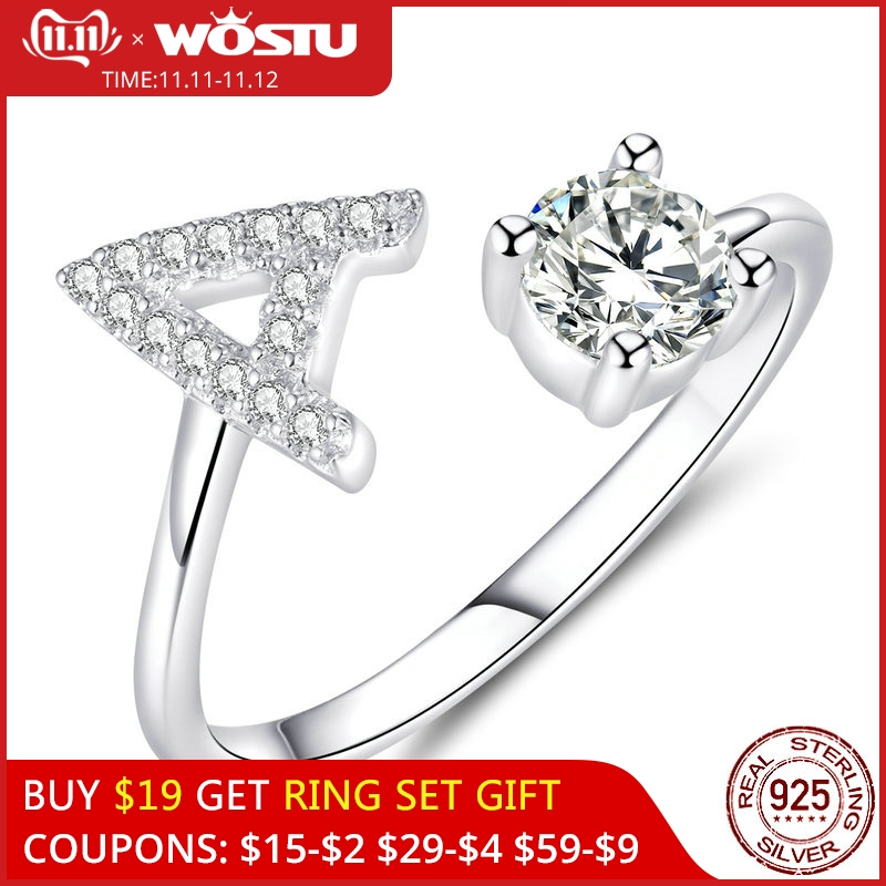 WOSTU 100% 925 Sterling Silver Alphabet Letter A Opening Rings For Women Adjustable Rings Wedding Party Luxury Jewelry CQR594