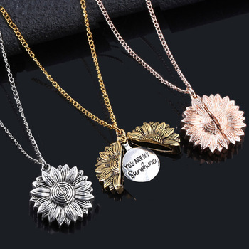 2020 Gold Necklace Open Locket You Are My Sunshine Sunflower Pendant Necklace For Women Men Vintage Necklace Jewelry Accessories image