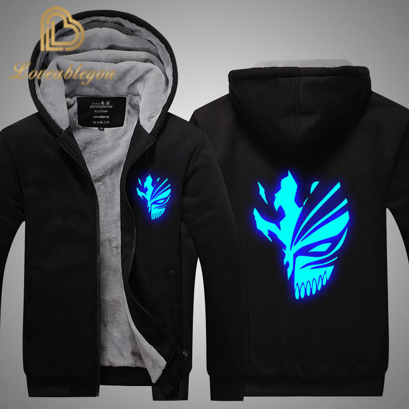 Anime Coat Bleach Kurosaki Ichigo Sweatshirts Hoodie At Night Zip Up Hoodies Unisex Thicken Jacket Clothing For Men And Women