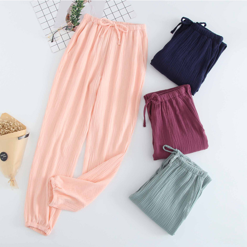 JULY'S SONG  Sleep Bottoms Cotton Breathable Long Pants Pajamas Loose Solid Elastic Waist Couples  Casual Pants Female Homewear