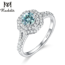 Kuololit Green blue Moissanite Rings for Women 925 Solid Sterling Silver Real Moissanite Ring Wedding Engagement Fine Jewelry