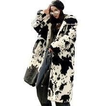 2021 Winter Fur Coat Women New Windbreaker Color Matching Long Imitation Fur Coat Female Loose Thick Warm Hooded Female Jacket