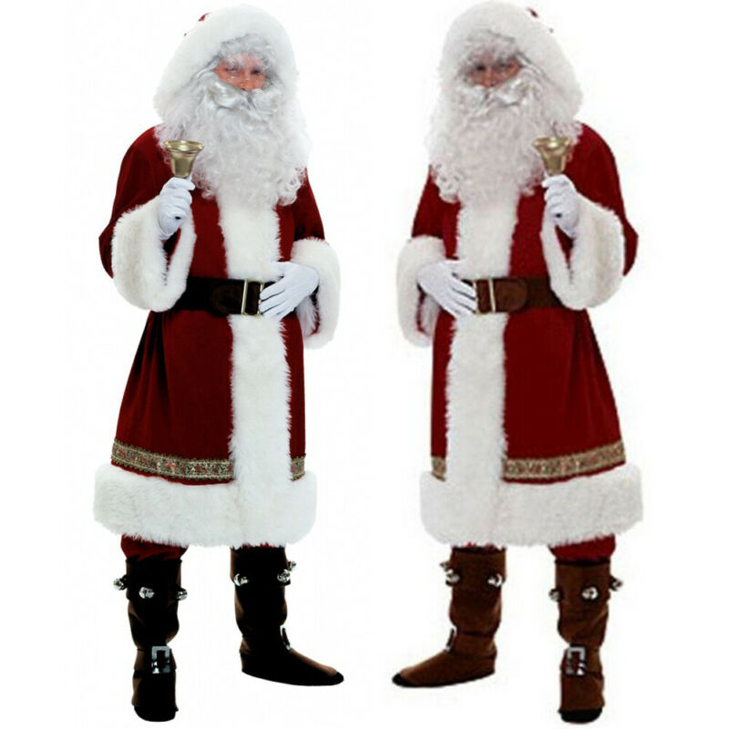 Russia Adults  Christmas Santa Claus Costume Cosplay Santa Claus Clothes Fancy Dress 5pcs/lot Costume Suit Christmas Outwear
