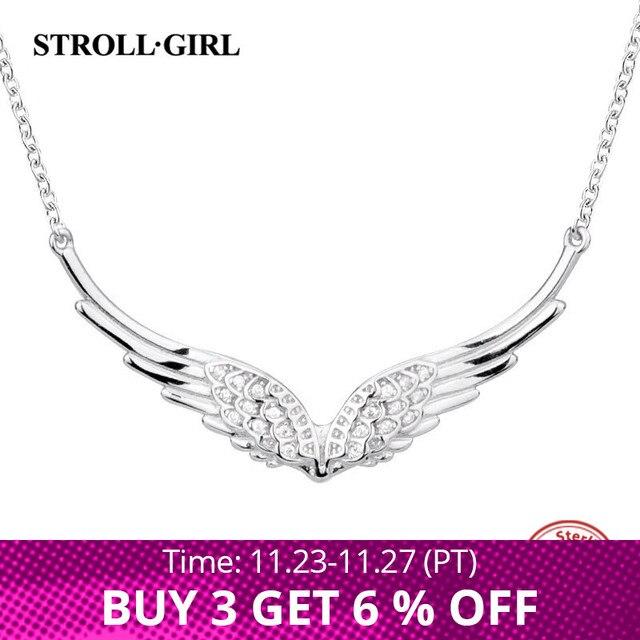 StrollGirl Nuovo 925 In argento Sterling ala di angelo della collana della catena della piuma del mestiere di diy dei monili di modo per Le Donne 2019 regali di Nozze